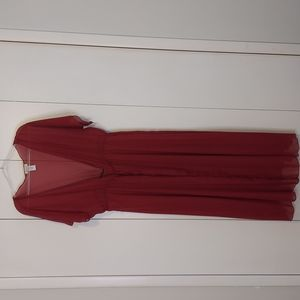Beware Burgundy Sheer Full Length Duster with Tie Waist Size 3X